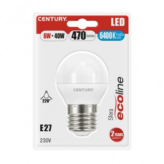 LAMP.CLASSICA LED ECOLINE SFERA - 6W - E27 - 6400K - 470Lm - IP20 - Blister 1 pz.